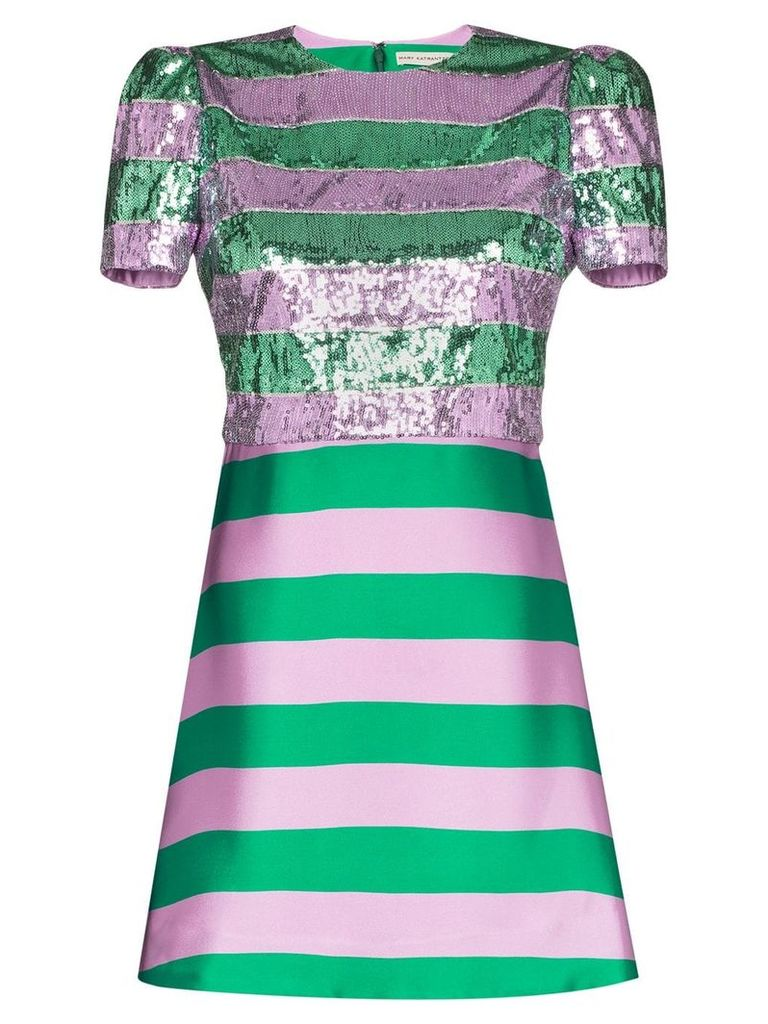 Mary Katrantzou sequin-embellished striped silk mini-dress - Green