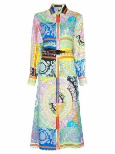 Versace Long-sleeve patterned belted silk shirt dress - A7000 Multi
