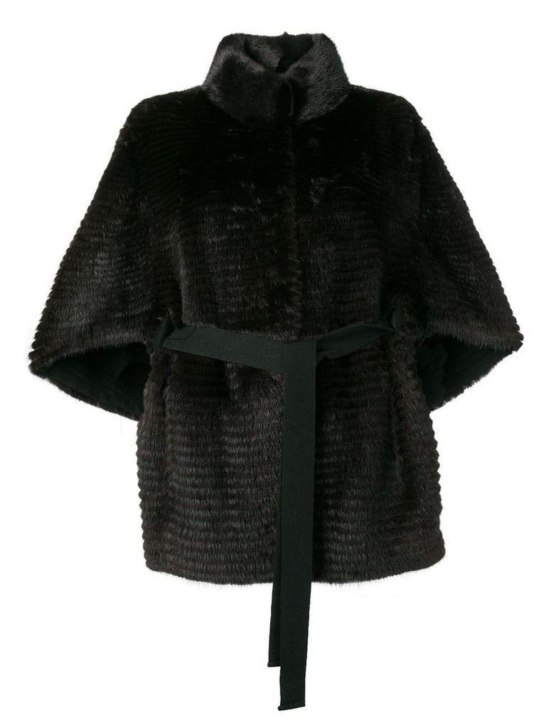 Liska fur trimmed belted coat - Black