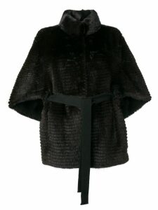 Liska fur trimmed belted coat - Black