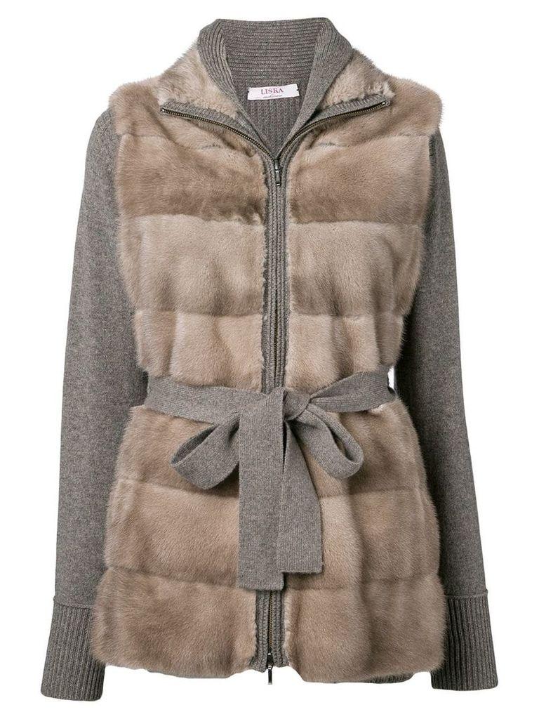 Liska cashmere trim coat - Brown