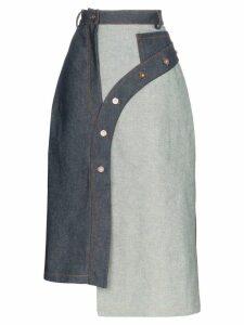Delada asymmetric panelled denim skirt - Blue