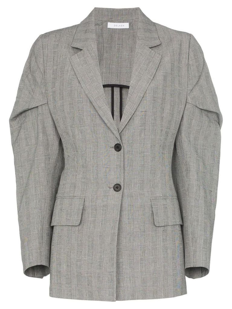 Delada exaggerated-sleeve checked blazer - Grey