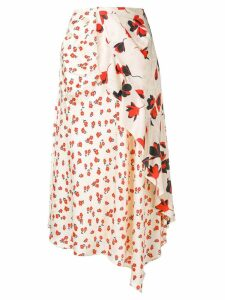 Self-Portrait floral asymmetric skirt - White