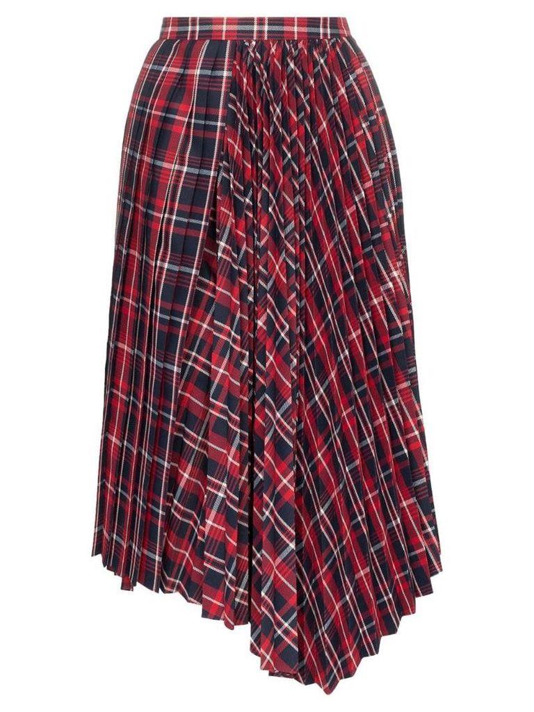 Juun.J Checked pleated midi-skirt - Red