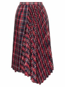 Juun.J Checked pleated midi-skirt - Red