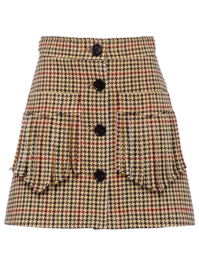 Miu Miu houndstooth check skirt - Green