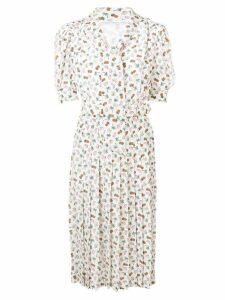 Alessandra Rich fruit print pleated dress - White