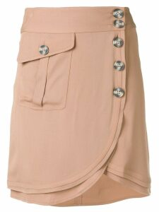 Self-Portrait wrap mini skirt - Neutrals