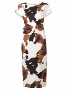 Patrizia Pepe cow-print midi dress - Brown