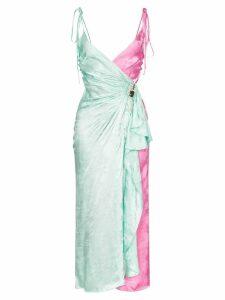 Attico two-tone jacquard wrap-around slip dress - Green