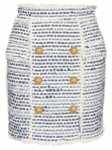 Balmain High-waisted button embellished tweed skirt - Blue