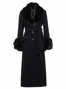 Miu Miu fox fur trimmed twill coat - Black