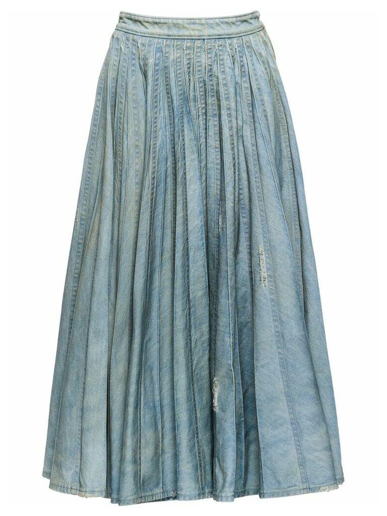Miu Miu pleated denim skirt - Blue