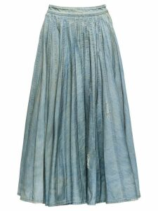 Miu Miu pleated denim skirt - Blue