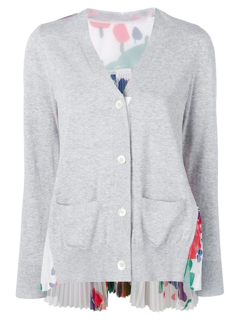 Sacai pleated back cardigan - Grey