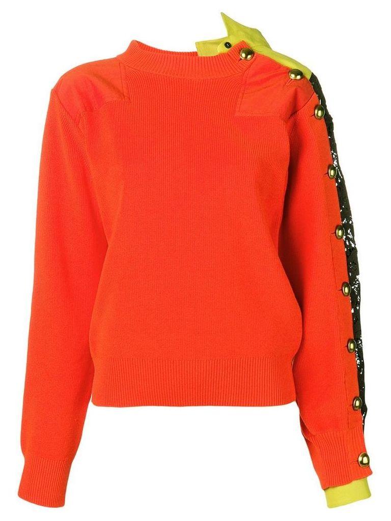 Sacai lace-trim knitted sweater - Orange