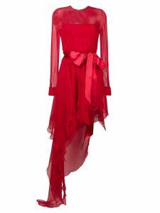 Alexandre Vauthier ruffled asymmetric hem dress - Red