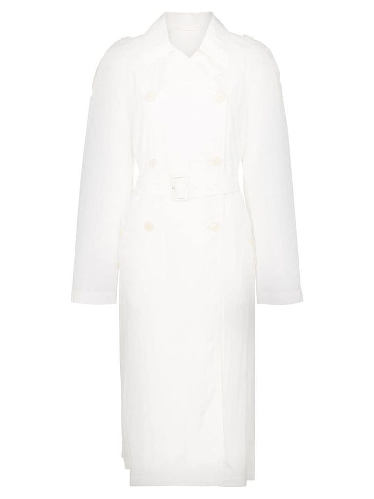 Helmut Lang belted trench coat - White