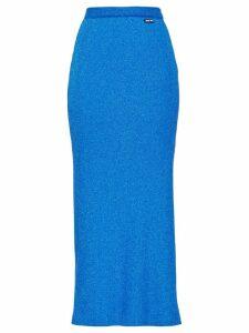 Miu Miu Lamé jersey skirt - Blue