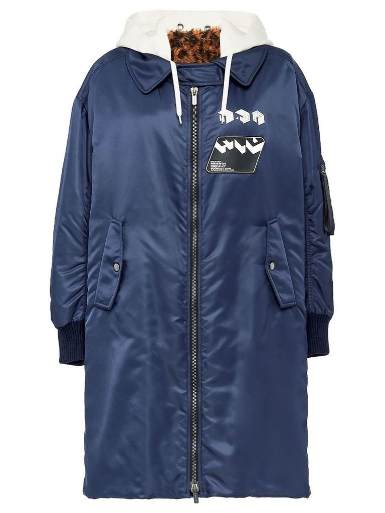 Miu Miu Technical twill coat with faux fur - Blue