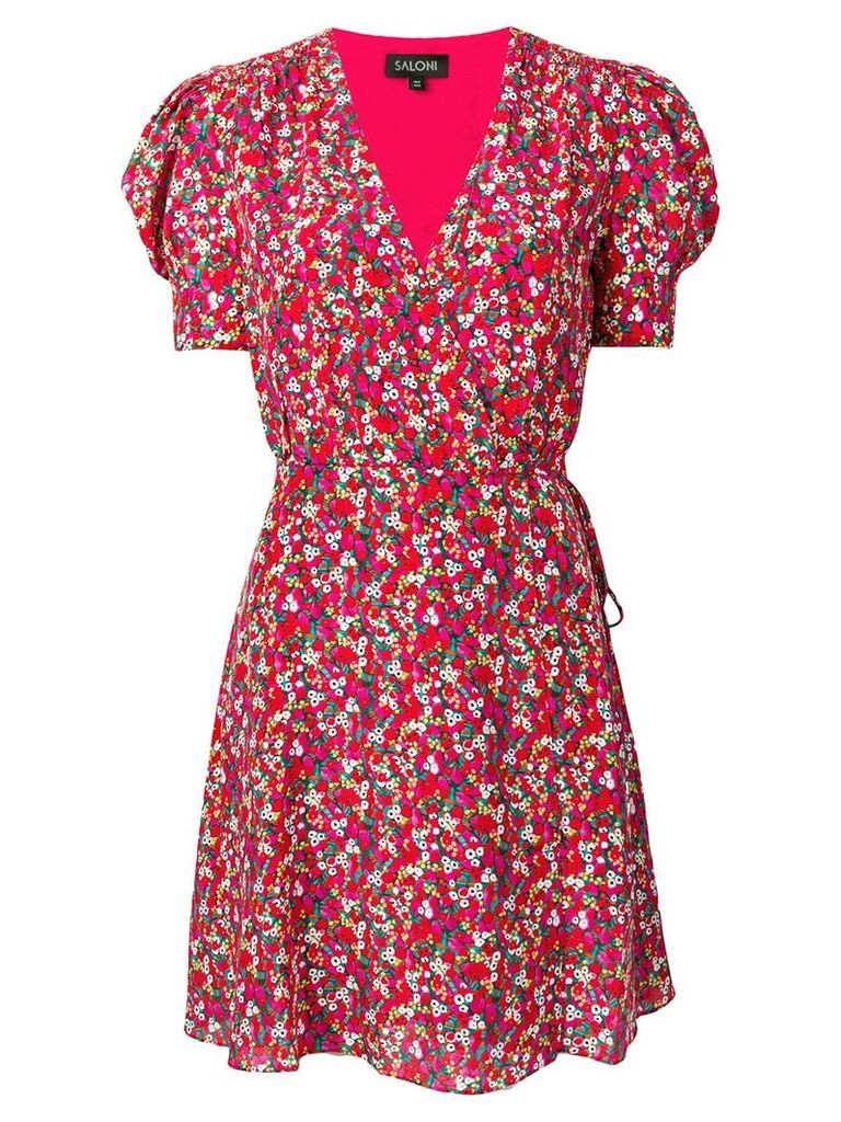 Saloni floral print wrap dress - Pink
