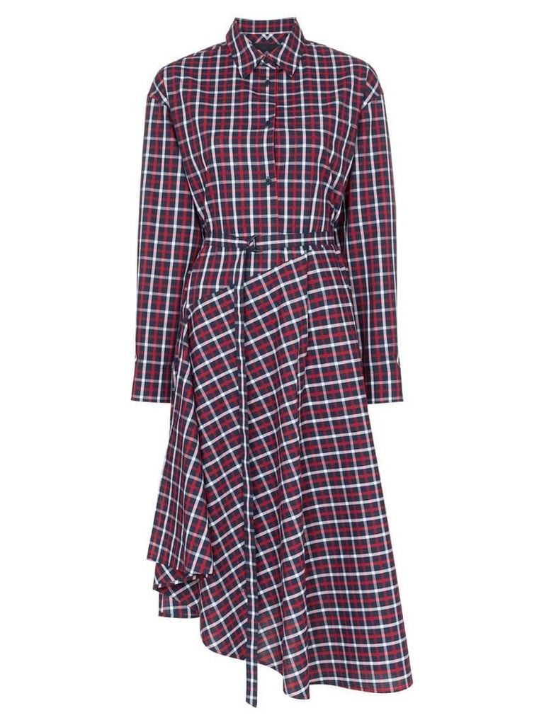 Juun.J Check cotton shirt dress - Blue