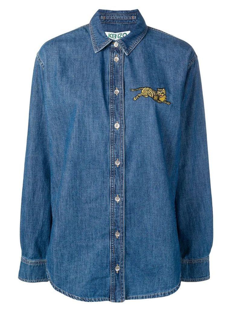 Kenzo embroidered tiger denim shirt - Blue