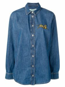 Kenzo embroidered tiger denim shirt - Blue