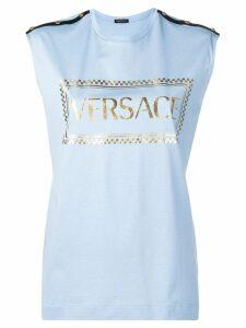 Versace logo print tank top - Blue