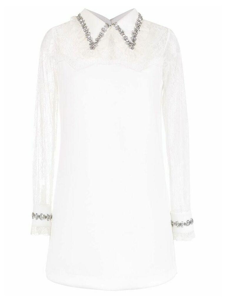 Andrea Bogosian long sleeved lace dress - White