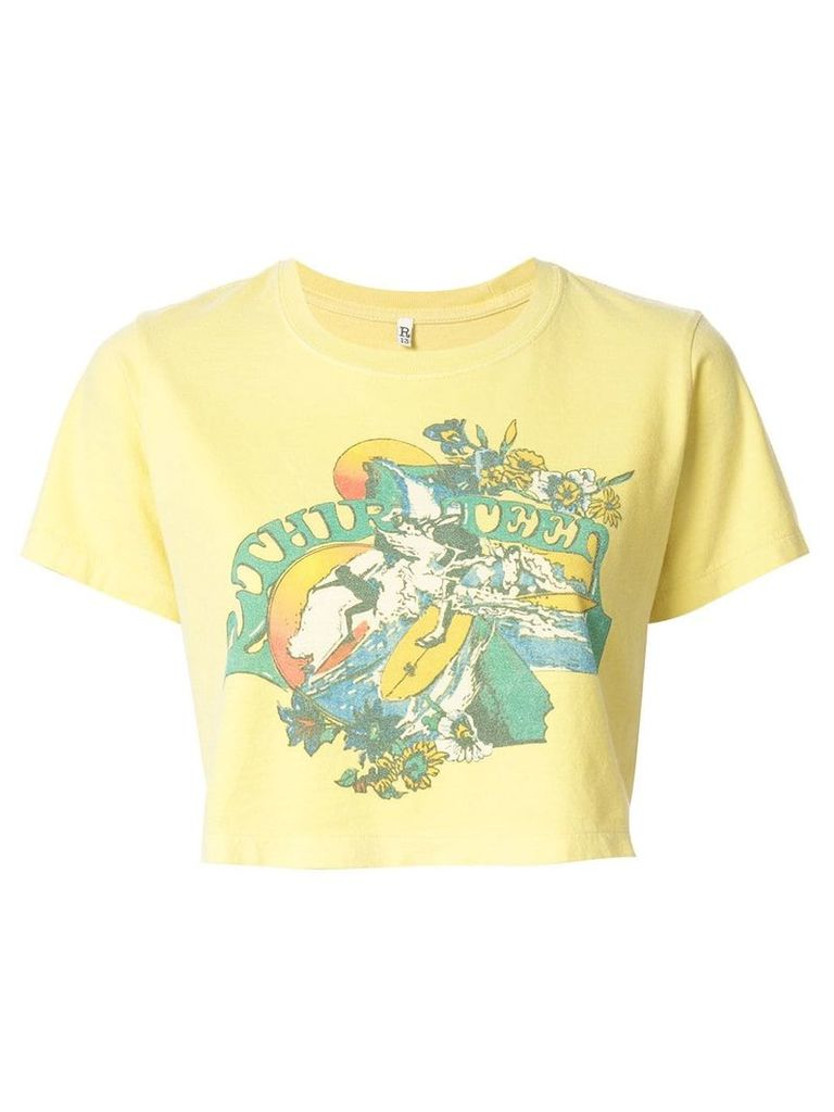 R13 cropped graphic print T-shirt - Yellow
