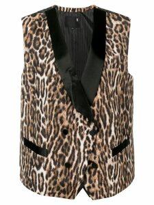 R13 leopard print waistcoat - Brown