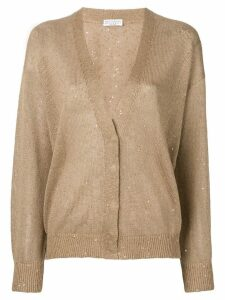 Brunello Cucinelli sequin embroidered cardigan - Brown
