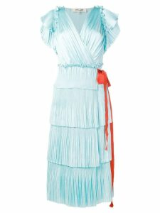 Diane von Furstenberg Sasha pleated ruffle wrap dress - Blue