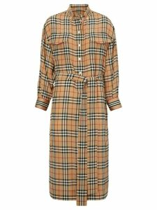 Burberry Vintage Check Silk Tie-Waist Shirt Dress - Yellow