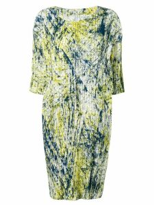 Issey Miyake abstract pleated midi dress - Yellow