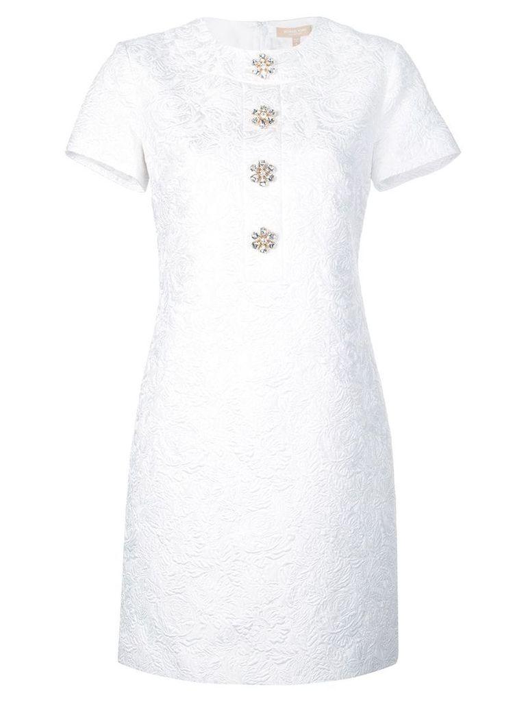 Michael Kors embellished-button matelassé short dress - White