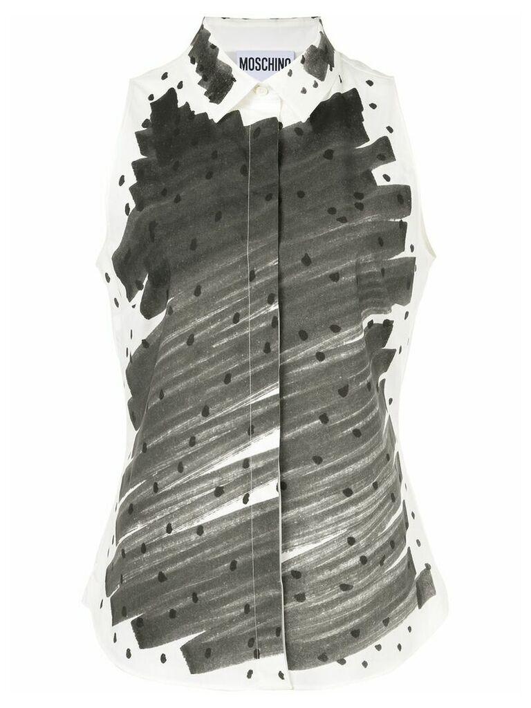 Moschino paint swipe sleeveless shirt - Grey