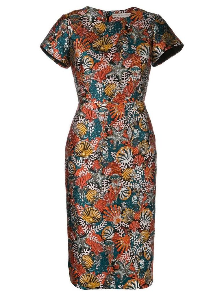 Mary Katrantzou Seashell brocade fitted dress - Orange