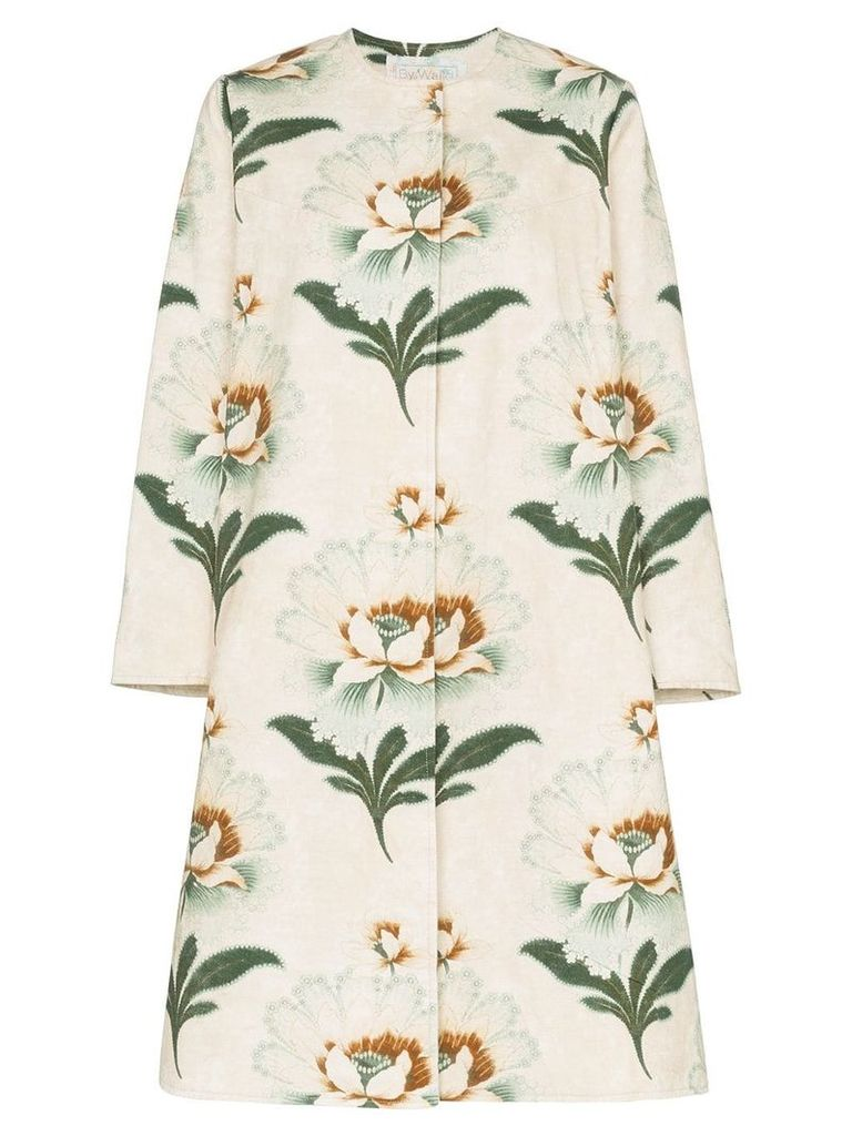 By Walid Tanita lotus flower print coat - Neutrals