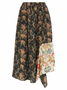 By Walid Frida floral print asymmetric skirt - Mixed Frida