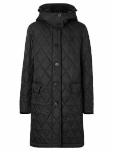 Burberry detachable hood quilted coat - Black