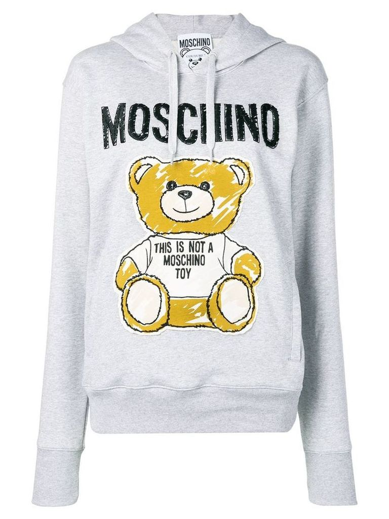 Moschino brushstroke Teddy Bear hoodie - Grey