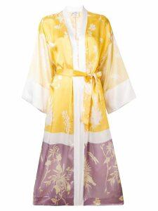 Forte Forte floral-print satin kimono - Yellow
