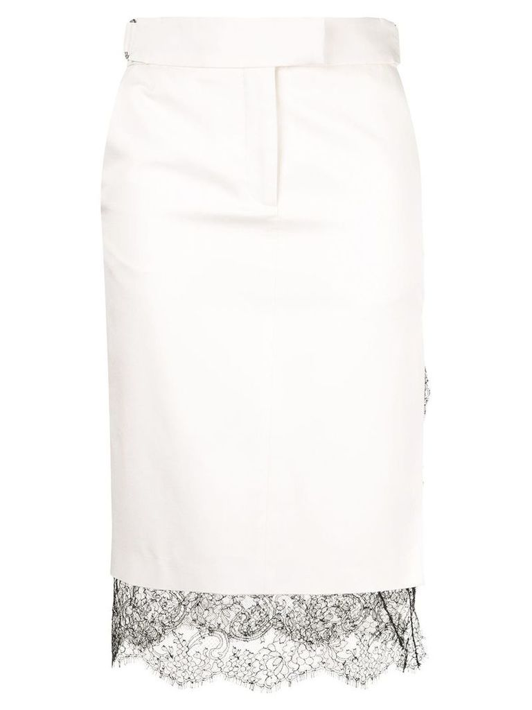 Tom Ford floral lace insert pencil skirt - White