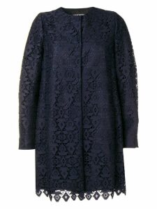 Emporio Armani macramé geometric patterned coat - Purple
