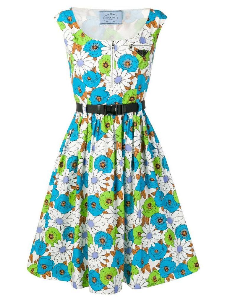 Prada floral print flared dress - Blue