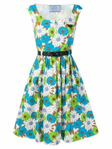 Prada floral print flared dress - Blue