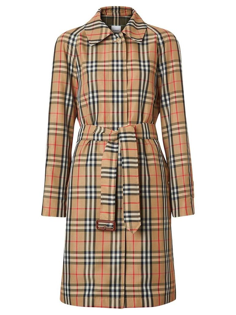 Burberry vintage check belted trench coat - Yellow